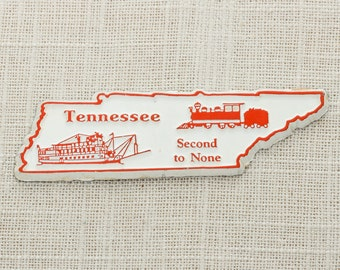 """Tennessee Vintage Silhouette State Magnet Volunteers Train Nashville """"Second to None"""" Travel Tourism Summer Vacation Memphis