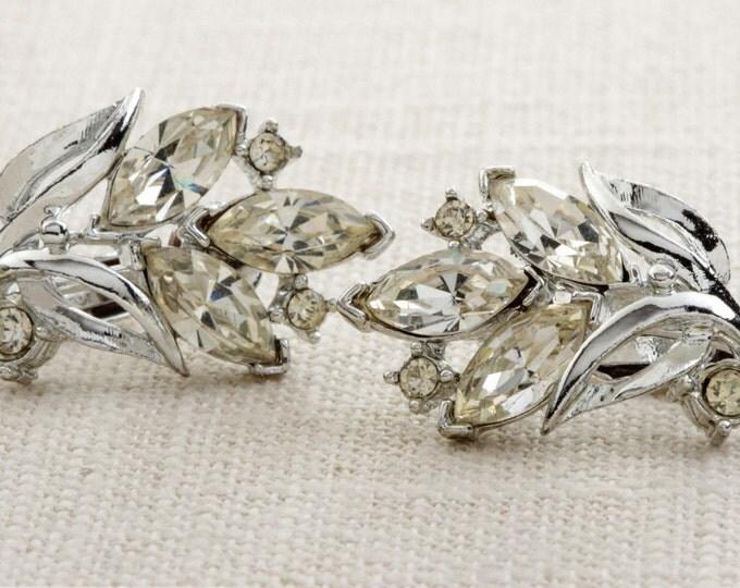 Vintage Rhinestone Earrings Clip On Leaves Floral Silver Shiny Clipons | Vtg 7B