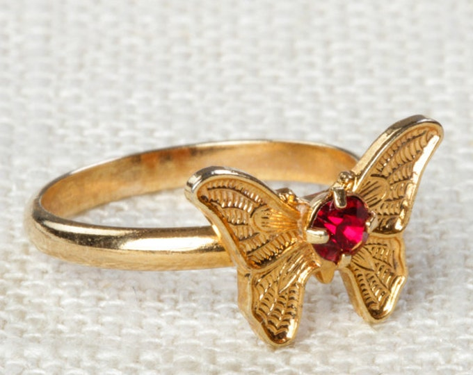 Vintage Butterfly Ring Bright Red Rhinestone Small Adjustable XS or Child's Size Vintage Ring Gold Butterfly Adjustable 16R