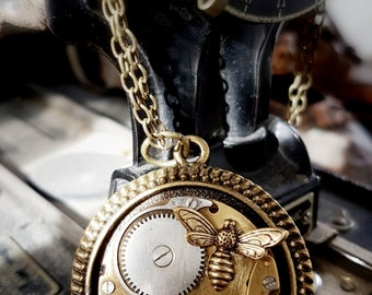 Brass Steampunk Inspired  Pendant Vintage Watch Movement - The Honey Bee