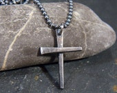 Cut Nail Sterling Silver Cross - Hammer Forged - Antique, Rustic, Industrial, Men's Leather cord Necklace Choker