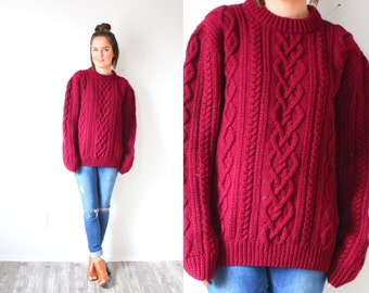 Vintage maroon red oversized chunky cable knit sweater // thick winter christmas sweater // oversized sweater // red jumper wool oversized