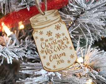 Mason Jar Ornament Our First Christmas As Mr and Mrs Ornament Our 1st Christmas Ornament Mason Jar