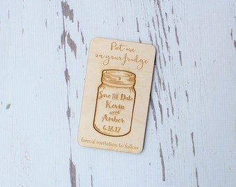 Mason Jar Save The Date Magnet Wood Engraved Save The Date Cards Mason Jar Wedding
