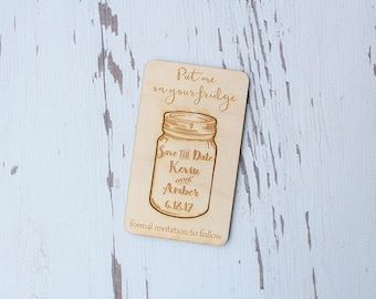 Mason Jar Save The Date Magnet Wood Engraved Save The Date Cards Mason Jar Wedding Set of 5