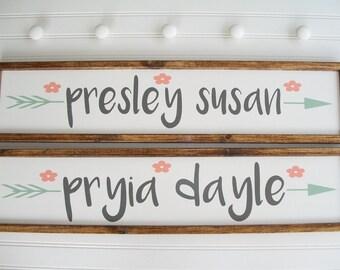 Large Baby Name Sign . Baby Girl Nursery Decor. Twins Nursery . Woodland Arrow Name Sign . Woodland Nursery Decor . Nursery Name Sign