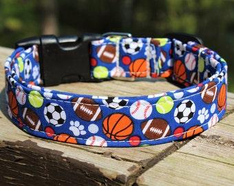 Sports Dog Collar, Paw print Dog Collar, Ball Dog Collar, Blue Collar, Boy Dog Collar, Football Collar, Soccer Dog Collar, Baseball Collar