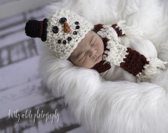 Baby Snowman Hat and Scarf Crochet Set Newborn Snowman Photo Prop