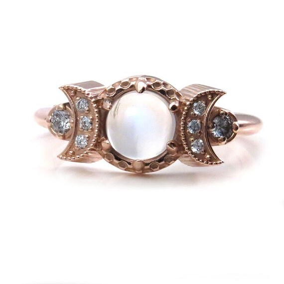 Moonstone Engagement Ring with Diamond Crescent Moons - Celestial Moon Phase Rose Gold Ring