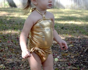 Girls Swimsuit One Wrap Baby Bathing Suit Gold Wrap Around Swimsuit to Fit Newborn to 3T Toddler Body Suit Infant Swim Suit Swimming Costume