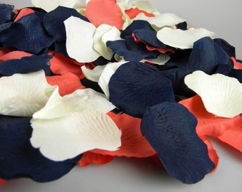Coral Blue and Ivory Rose Petals | 200 Artificial Petals | Coral & Navy Wedding | Blueberry Deep Coral | Flower Petals Tossing Table Scatter