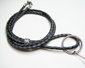 Id Lanyard, Braided Gray and Black Leather, Id Badge Holder, Custom Lengths 26-36 inches ,by Eyewearglamour