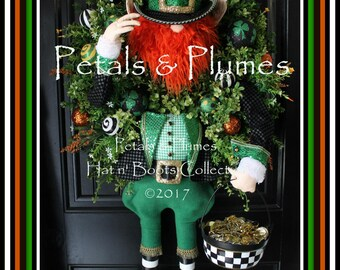 """PRE-ORDER 2018 Delivery-St Patrick's Day Wreath-""""Top of the Morning To You-St. Patty Leprechaun""""  Petals & Plumes Original- 48"""" Tall-4 Avail"""