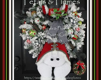 "PRE-ORDER ""2018"" Delivery-Winter Wreath-""Mr. Frost'icles"" Snowman-Christmas Wreath-Petals & Plumes ORIGINAL Design©-See production time"