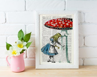 Summer Sale Alice in wonderland wall art- Going home -gift, Alice decor dictionary art print Lewis Carroll Print, girls room ALW016