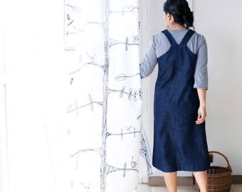 Women's overall dress, denim overalls, denim dress. Dungaree dress. Japanese apron dress. Sustainable clothing. Made in Italy. Plus size.