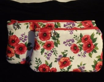Red Poppy Pouch, Makeup Bag, Toiletry Bag, Cosmetics Clutch, Travel Bag, Go Bag, Gifts for Her, Zippered Pouch, Floral Bags