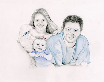Family Portrait Custom Portraits Hand Drawn Work of Art for Your Family Gift Portraits Kids Portrait Personalized Family Gift Pencil Art