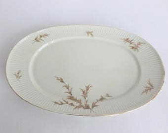 Thomas Rosenthal China Oval Serving Platter Pattern 07495 Ribbed Cream with Brown Branches and Leaves and Gold Trim