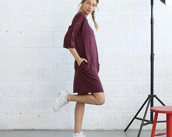 Lace Up Front Mini Dress ,Burgundy .