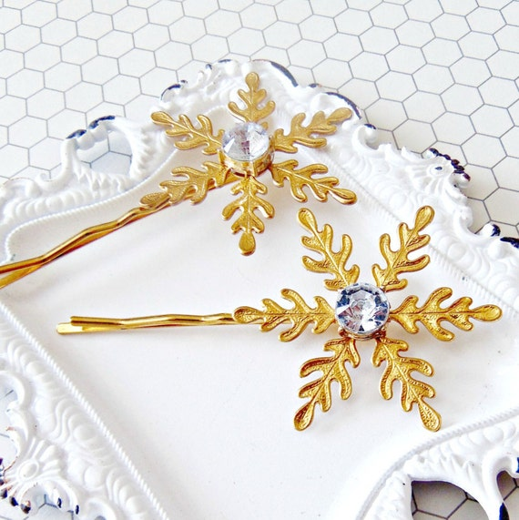 Snowflake Hair Pins, Snowflake Bobby pins, Rhinestone Snowflakes, Brass Snowflakes, Snowflake Hair Accessories, Christmas Wedding SNOWFLAKE