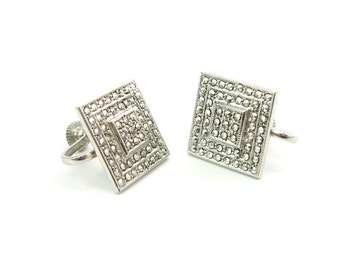 Square Geometric Earrings. Marcasites and Sterling Silver. Stepped Milgrain Design. Screw Backs. Vintage 1980's Art Deco Style Jewelry