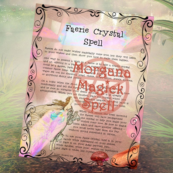 FAERIE CRYSTAL SPELL, Digital Download, Wishing Spell,Faerie, Book of Shadows Page, Grimoire, Scrapbook, Spells
