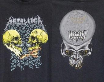 Vintage Metallica T Shirt Mens Large / Extra Large Unisex Womens Pushead Faded Heavy Thrash Metal 90s 1994 I'm Inside I'm You Skulls