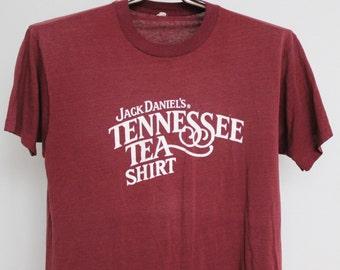 Vintage Jack Daniels Tennessee Tea T Shirt Mens Medium Unisex Womens Soft Paper Thin 80s 1980s 50 50 Screen Stars Liquor Whiskey Bourbon