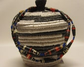 Small Black and White African Woven Handmade Basket with Lid and Paper Bead Necklace Combination, Secret Santa Gift, Fair Trade Gift, Uganda