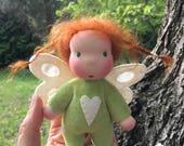 Mini Fae Doll Lucy, green romper, fairy wings
