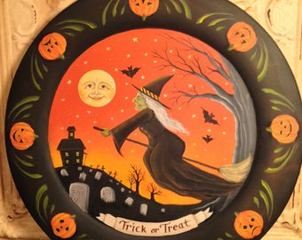 Halloween folk art vintage style Pumpkins witch moon man painting on wood Penny Grotz