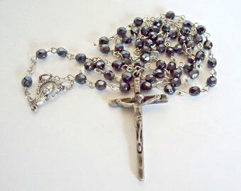Hematite Rosary Crucifix Vintage Black Alaskan Beads