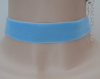 """BABY BLUE Classic Plain Velvet 22mm 7/8"""" Wide Ribbon Choker Necklace - vt... more colours to choose from, all made to custom fit :)"""