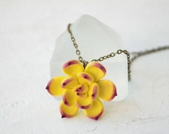 Yellow Purple Succulent Planter Necklace Pendant Wholesale Mini Succulent Plants Succulent Jewelry Wedding Bridal Birthday Gifts