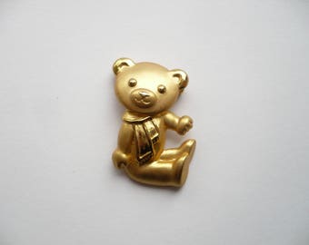Vintage Articulated Brooch Teddy Bear with Scarf Gold Tone Metal Unsigned