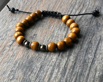 Tibetan Sandalwood Bead Adjustable Wrist Mala Bracelet, chrome, hematite bracelet, leather, unisex bracelet