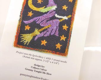 Hazel's Night Out Punchneedle Embroidery pattern...pattern by Colleen Calver of Granny Taught Me How