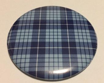 "2.25"" Handmade Pocket Mirror Blue Plaid Pattern"