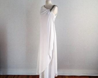 Vintage 60s grecian wedding formal evening floor length dress - 1960s long beaded shoulder column dress - medium