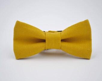 Children's Mustard Linen Bow Tie, Yellow Bowtie, Gold Bow Tie
