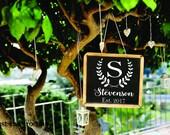Wedding Decal - Monogram Decals - Wedding DIY Decals - Wedding Decor Decals Vinyl - Laurel Wreath Decal - Personalized Gift Name Decal