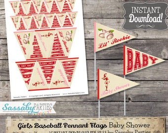 Vintage Girls Baseball BABY Mini Pennant Flags - INSTANT DOWNLOAD - Printable Baby Shower Party Decoration, A League of her Own Decor
