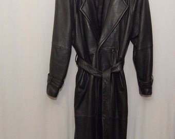 Charles Klein Mens Leather Trench Coat Size Large Big and Tall Steampunk Goth free shipping