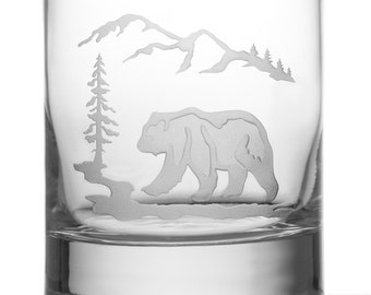 Bear, 13oz Rocks Glass, etched (Sandblasted), Original Design