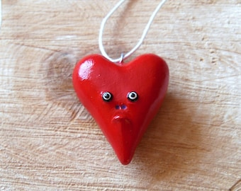 Red Heart Pendant - St. Valentine Necklace - Polymer Clay Heart Pendant - Romantic Jewelry - Grumpy Heart Pendant - Polymer Clay Heart OOAK
