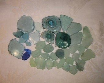 VTG Oregon Coast Sea Glass 1 lb. 4oz. in Aqua Blue, Colbalt, Seafoam Greens