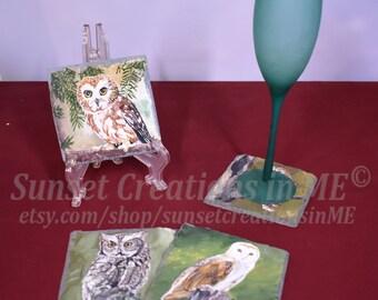 Owl Coasters, Owl Art, Owls, Owl Decor, Bird Art, Birds, Owl Painting, Country Decor, Handpainted Coasters, Slate Coaster, Acrylic Painting