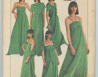 1970's Simplicity 8086 Misses' Jiffy Stretch Knit Multi-Wrap Dress Pattern Day or Evening Bust 32 - 34
