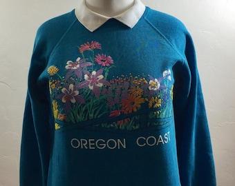 Vintage Sweatshirt, Oregon Coast,Vintage Oregon, Floral Sweatshirt, Grandma Style, Collared Sweatshirt, Hipster Sweatshirt, Vintage Sweater